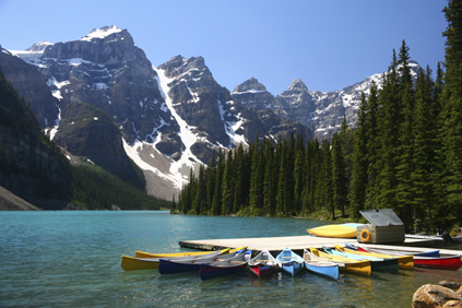 Moraine Lake (in Banff National Park) is fed by glaciers